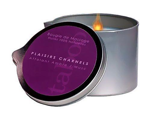Массажная свеча Taboo Plaisirs Charnels с ароматом амбры и мускуса (165 гр)