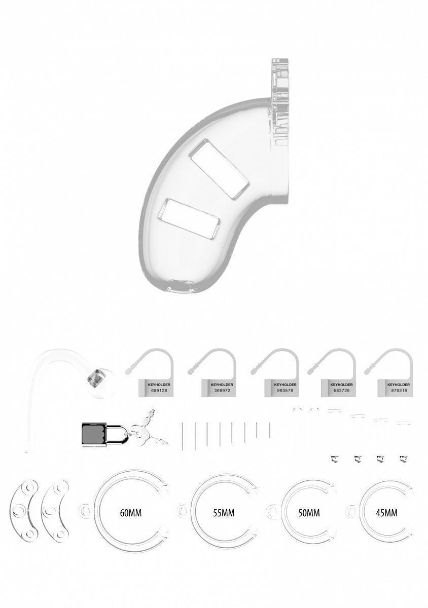 Прозрачный мужской пояс верности Cage With Plug 10 со съемной анальной пробкой