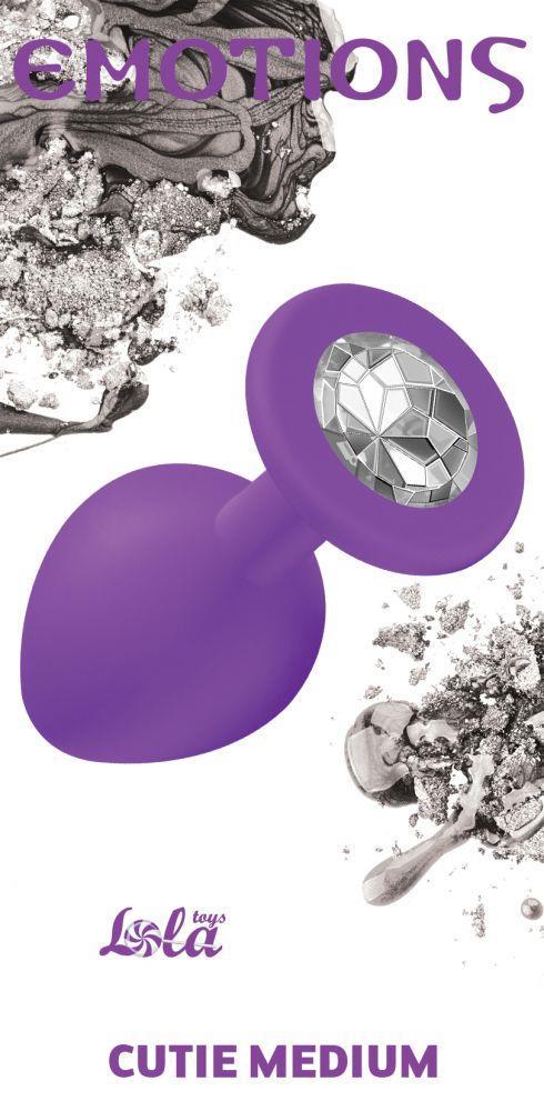 Средняя фиолетовая анальная пробка Emotions Cutie Medium с прозрачным кристаллом (8,5 см)