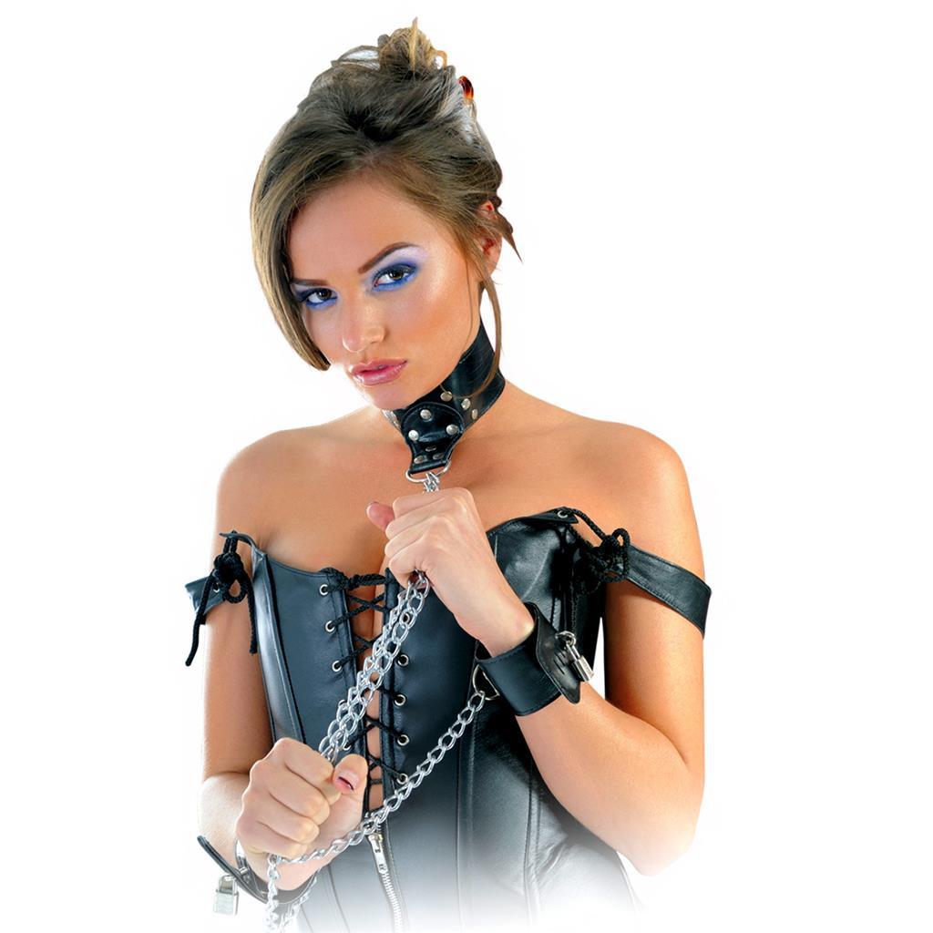 Ошейник и наручники с цепью «Fetish Fantasy Leather Collar and Cuffs»
