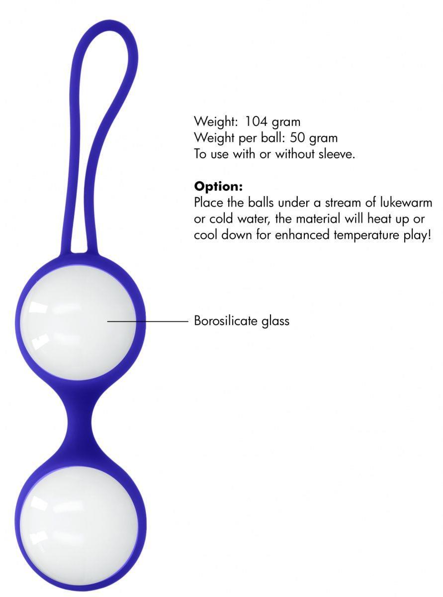 Белые стеклянные вагинальные шарики Ben Wa Large в синей оболочке