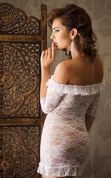 Кружевная сорочка Agathe с рукавами 3/4 и открытыми плечами