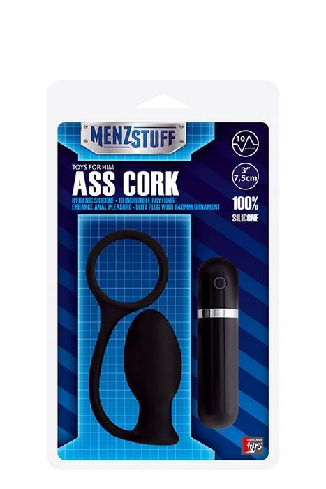 Чёрная анальная вибровтулка MENZSTUFF ASS CORK SMALL (7,5 см)