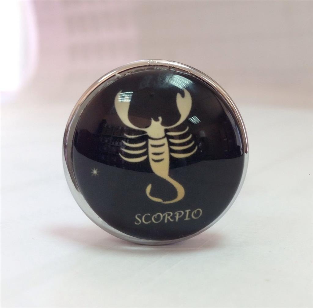 Серебристая анальная пробка со знаком зодиака - Скорпион