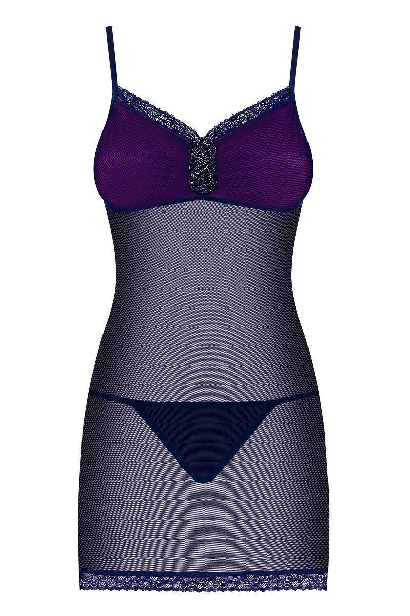 Фиолетовая полупрозрачная сорочка Suella с нежным кружевом и украшением на лифе