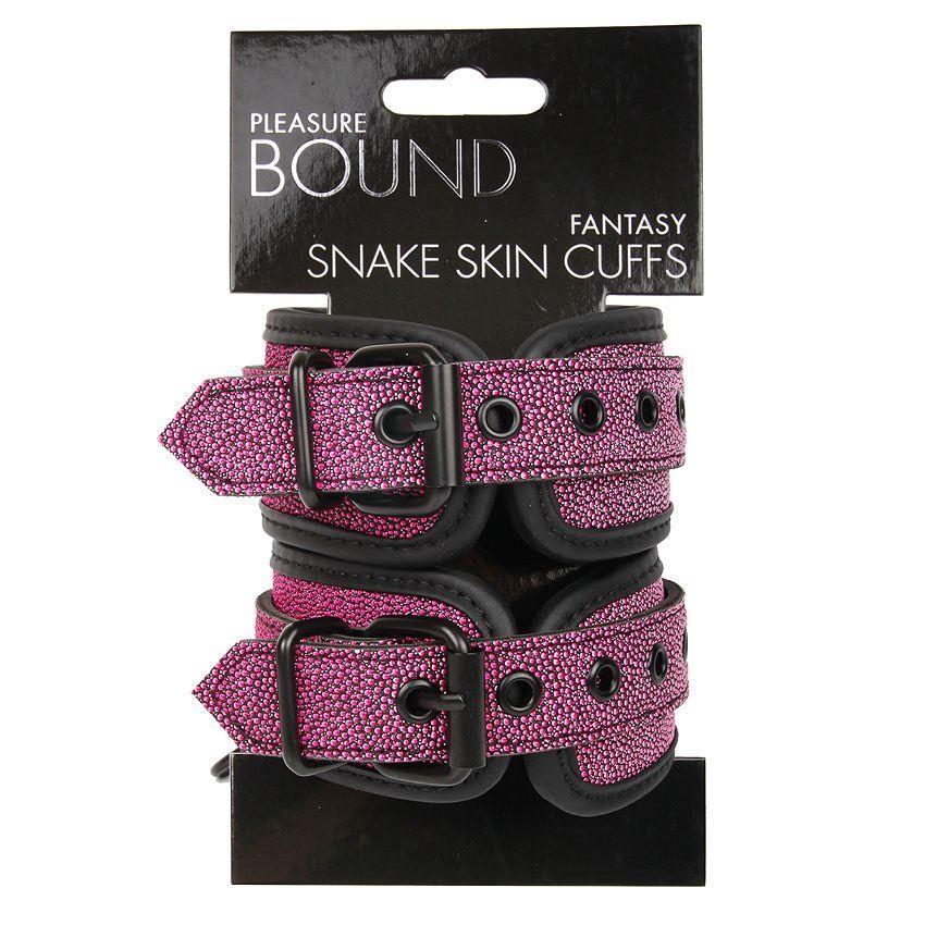 Розово-черные наручники с регулируемыми застежками