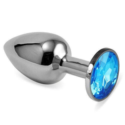 Серебристая анальная втулка с голубым кристаллом (7 см)