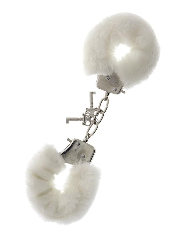 Металлические наручники с белой меховой опушкой