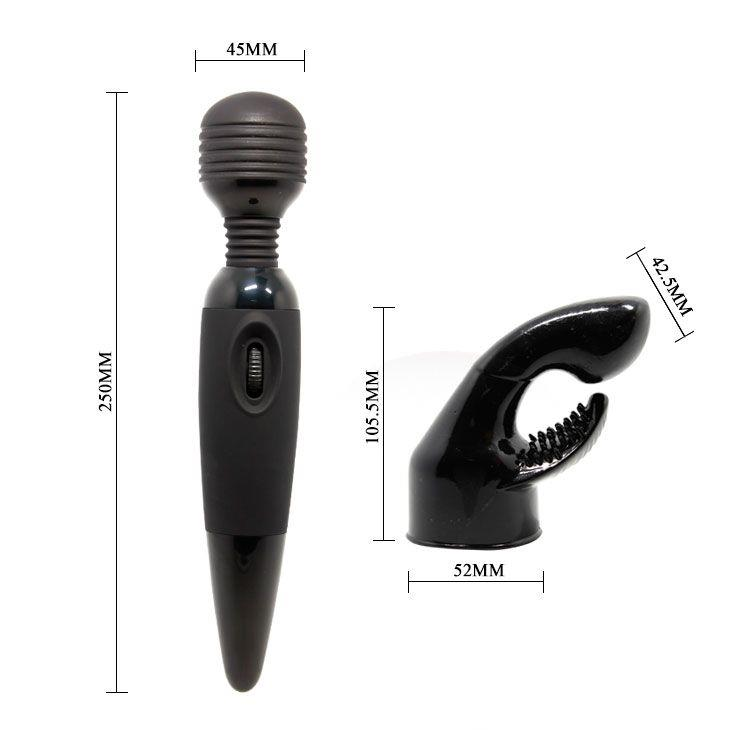 Вибромассажер для тела со сменной насадкой на головку - 25 см.