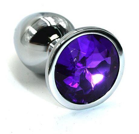 Серебристая алюминиевая анальная пробка с темно-фиолетовым кристаллом (6 см)