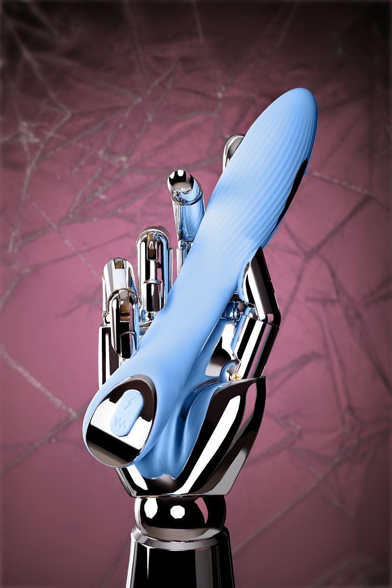 Голубой силиконовый вибратор с электростимуляцией PHYSICS TESLA G-POINT (21 см)