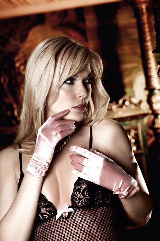 Светло-розовые перчатки из сатина с бантиками Have Fun Princess
