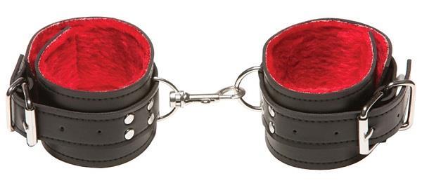 Чёрные кожаные оковы X-Play с красным мехом внутри