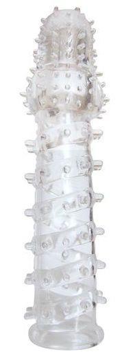 Закрытая прозрачная рельефная насадка с шипиками Crystal Sleeve (13,5 см)