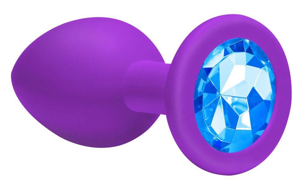 Большая фиолетовая анальная пробка Emotions Cutie Large с голубым кристаллом (10 см)