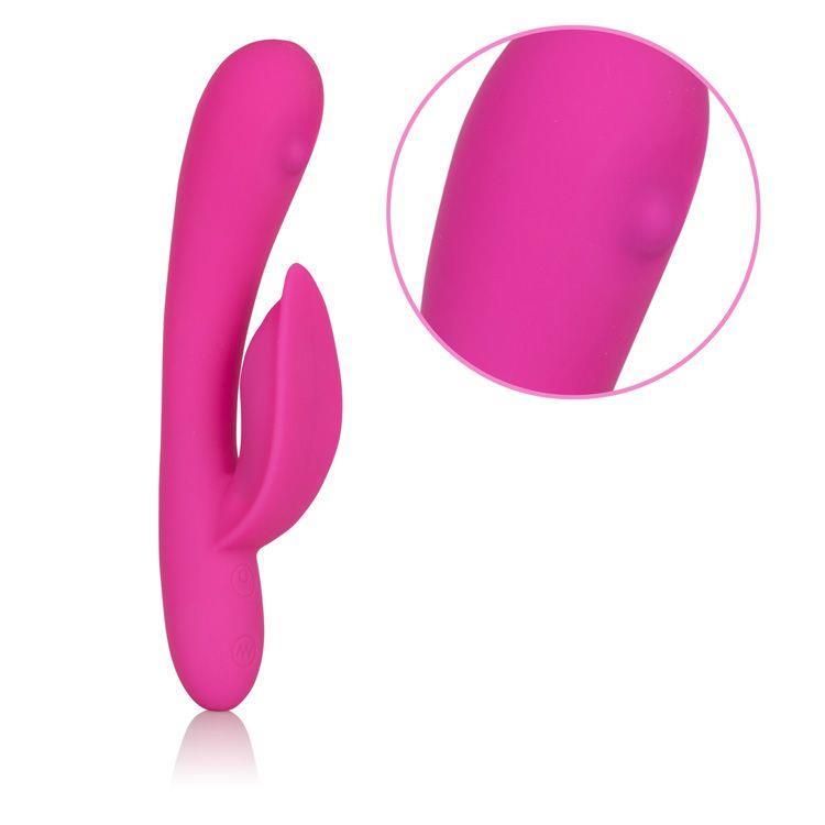 Розовый перезаряжаемый вибромассажер Embrace Massaging Tickle с движущимся шариком