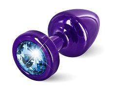Фиолетовая пробка с голубым кристаллом ANNI round Purple T1 Blue - 6 см.