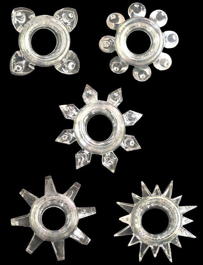 Набор из 5 прозрачных фигурных эрекционных колец