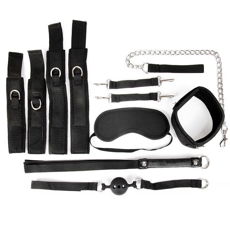 Черный текстильный набор БДСМ аксессуаров