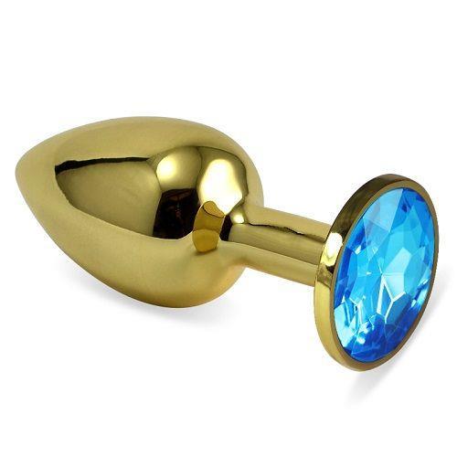 Золотистая анальная втулка с голубым кристаллом (7 см)