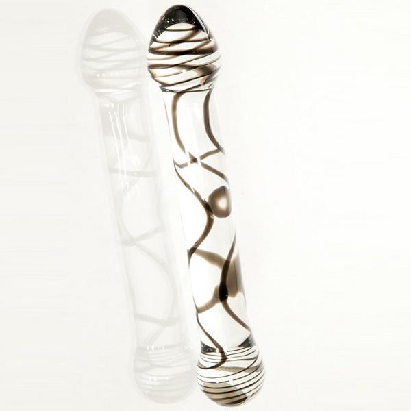 Стеклянный фаллоимитатор из прозрачного стекла со спиралями (19,5 см)