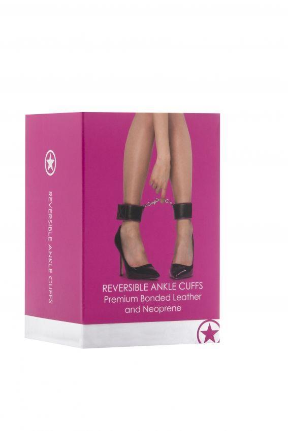 Чёрно-розовые двусторонние оковы на ноги Reversible Ankle Cuffs