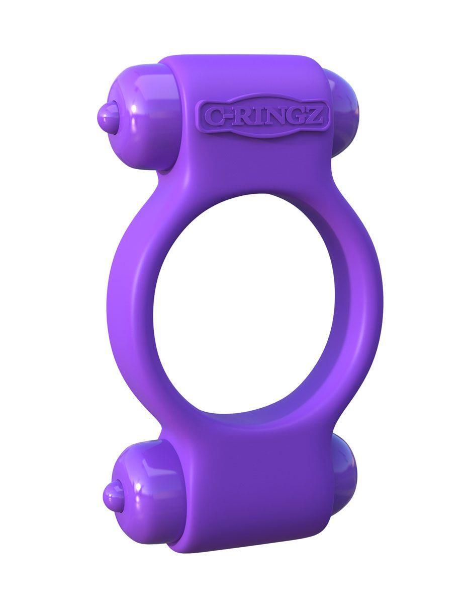 Фиолетовое эрекционное кольцо с 2-мя виброэлементами Magic Touch Couples Ring