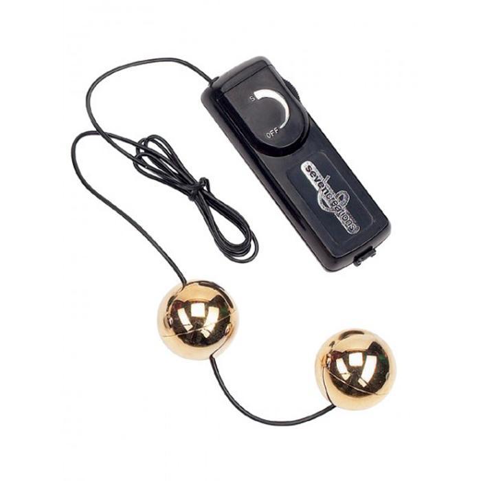 Вагинальные шарики золотого цвета с вибратором
