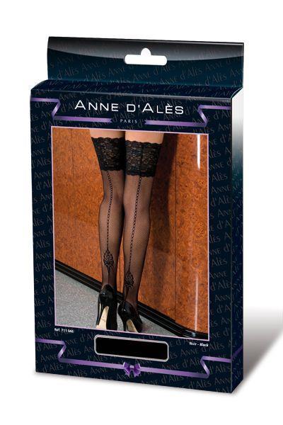 Чулки в мелкую сетку Denise на силиконовой резинке и с фигурной стрелкой сзади