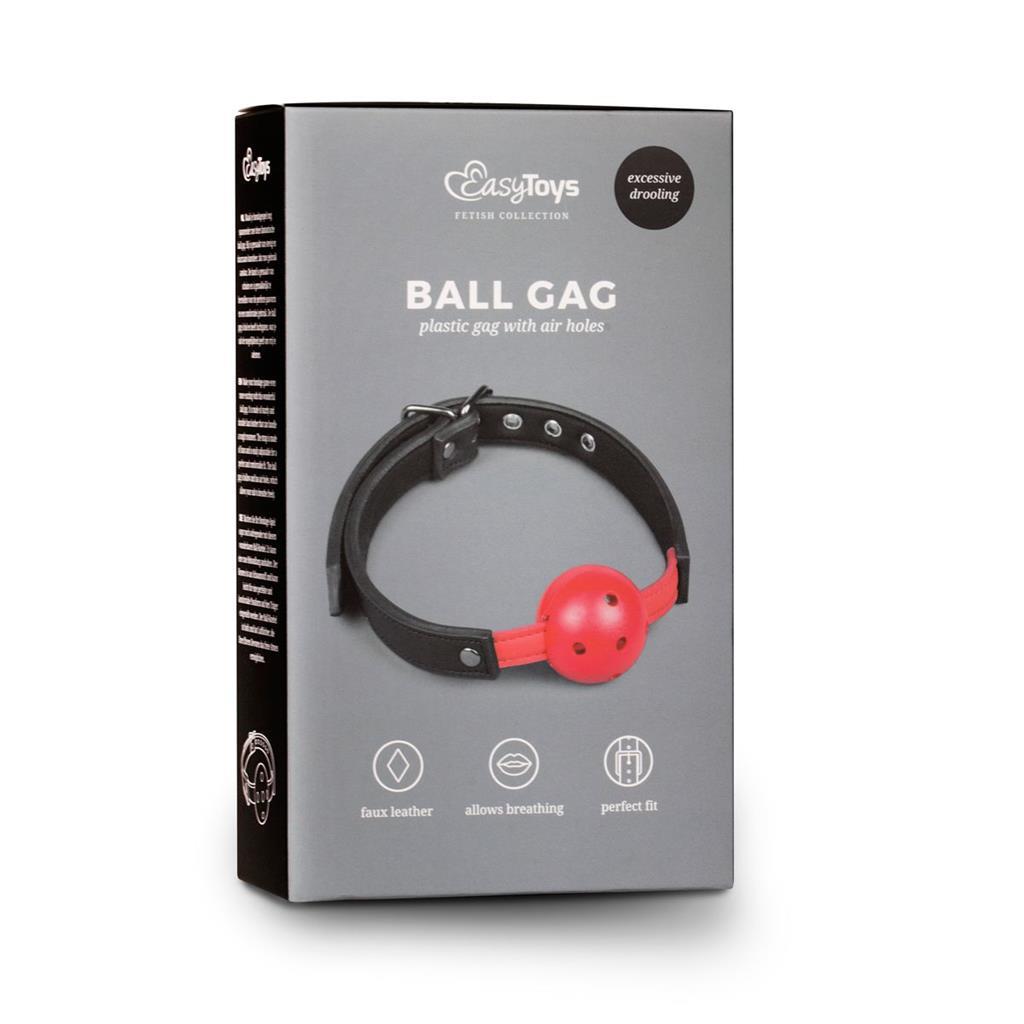 Красный кляп-шар Easytoys Ball Gag With PVC Ball