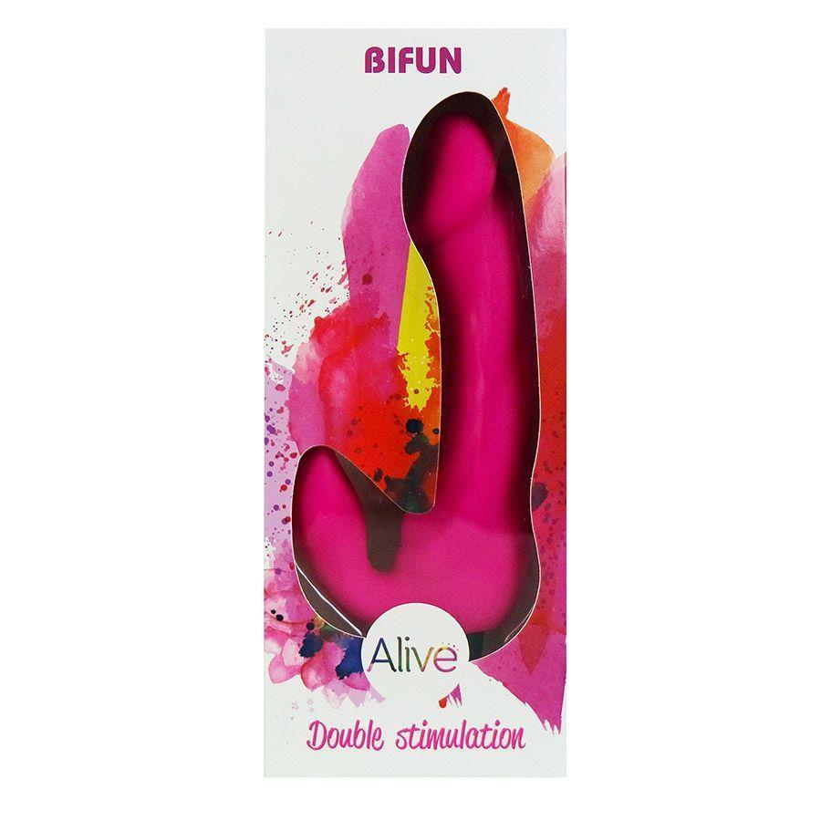 Розовый вибратор Bifun с клиторальным отростком (16,5 см)