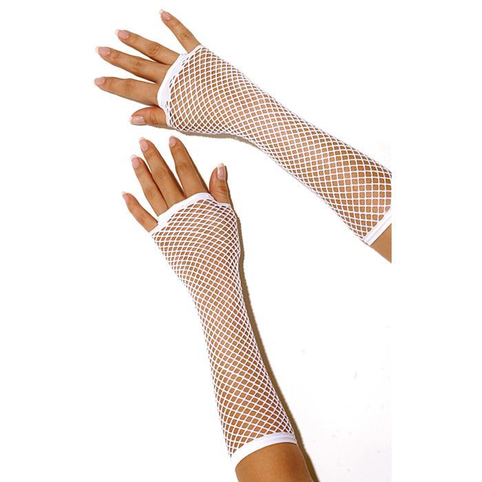 Длинные перчатки в сетку до локтя