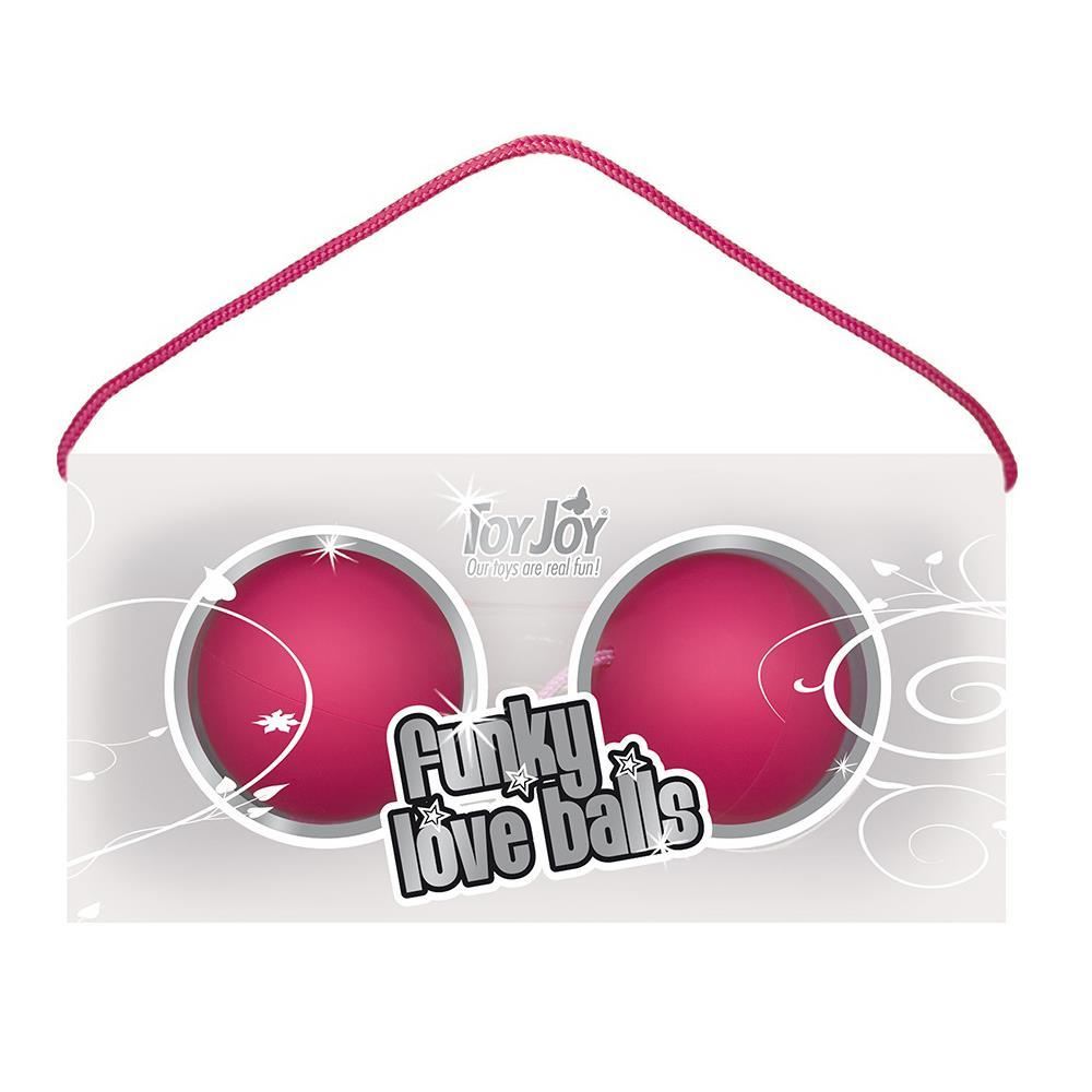 Веселые розовые вагинальные шарики Funky Love Balls (3,5 см)