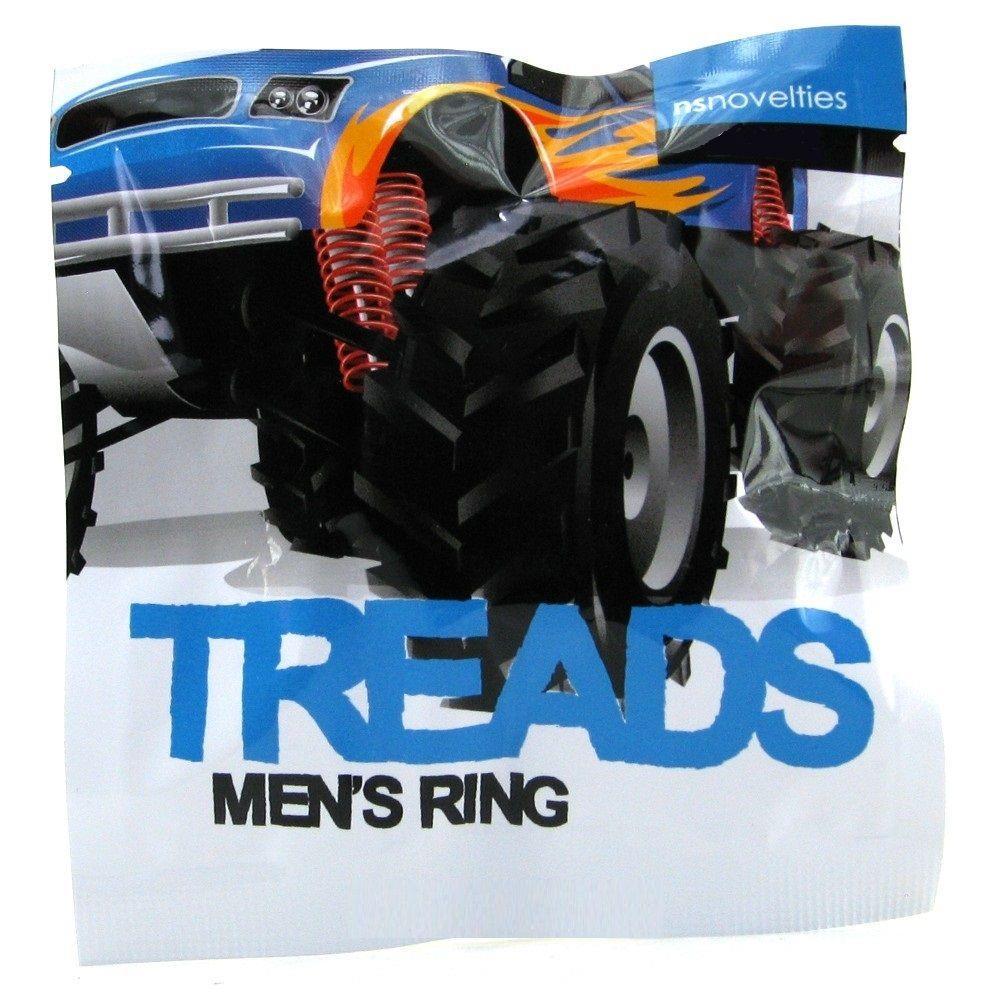Чёрное эрекционное кольцо TREADS MENS RING THIN
