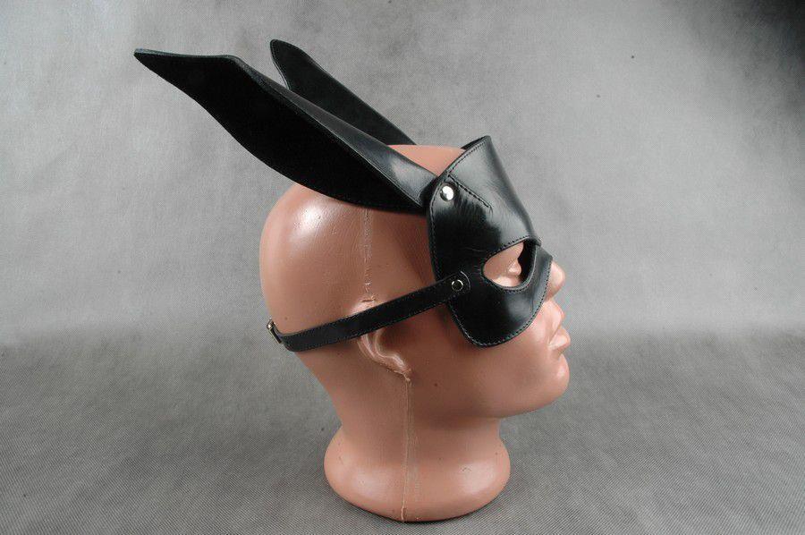 Чёрная кожаная маска на верхнюю часть лица Е-РАБбит