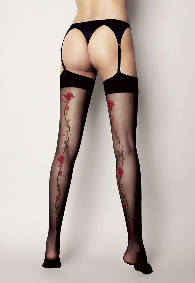 Чулки Calze Madlen с рисунком розы