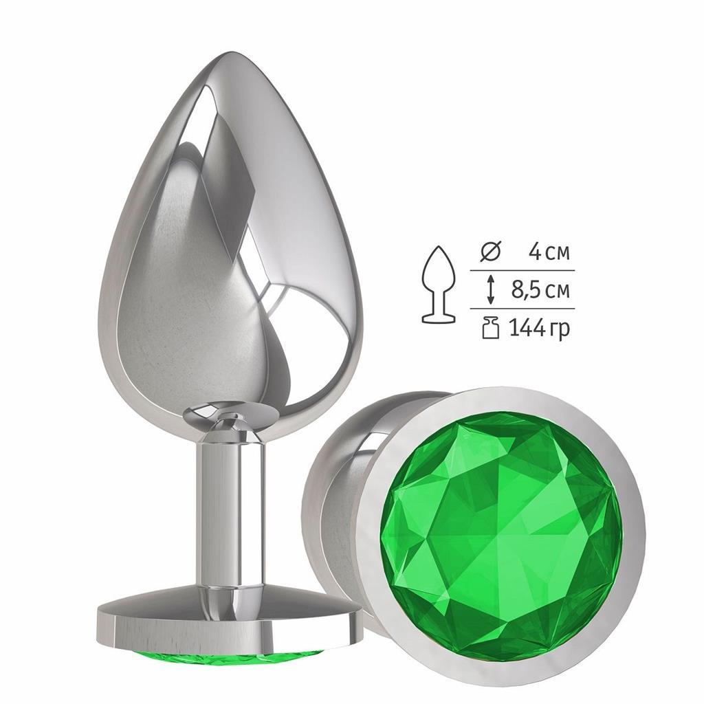 Серебристая большая анальная пробка с зеленым кристаллом (9,5 см)