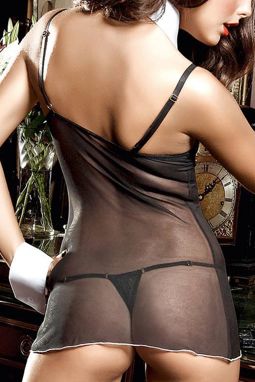 Черное платьице из тюлевой ткани с лифом на косточках, белой аппликацией и стрингами Agent Of Love