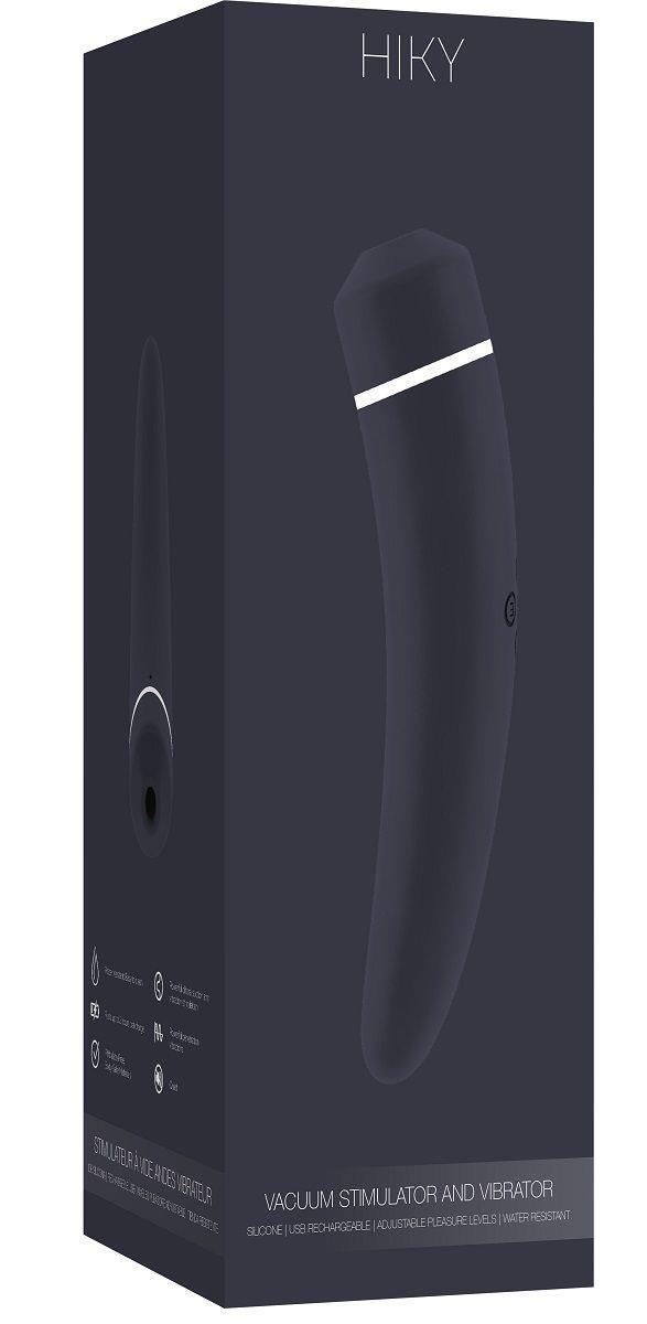 Чёрный вакуумный клиторальный вибромассажер HIKY
