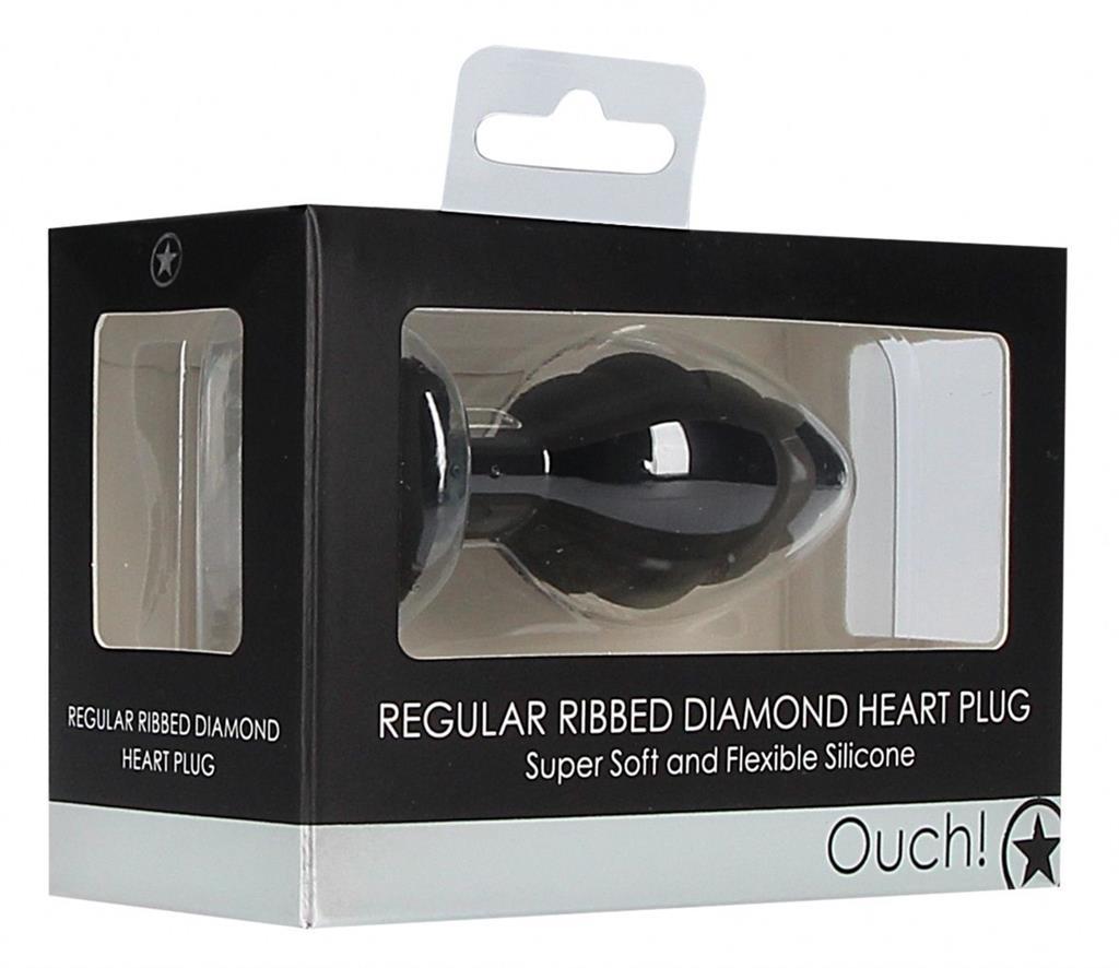 Черная анальная пробка Regular Ribbed Diamond Heart Plug - 7 см.