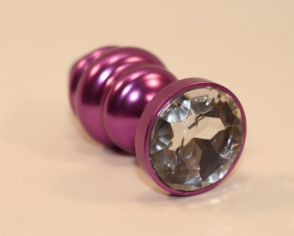Фиолетовая рифленая анальная пробка с прозрачным кристаллом (7,3 см)