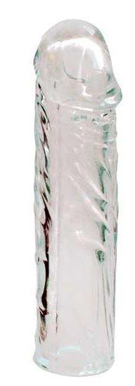 Закрытая прозрачная насадка-фаллос Crystal sleeve - 16 см.
