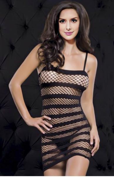 Платье-сетка в полоску