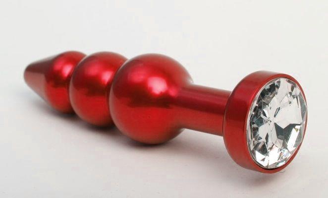 Красная анальная ёлочка с прозрачным кристаллом - 11,2 см.