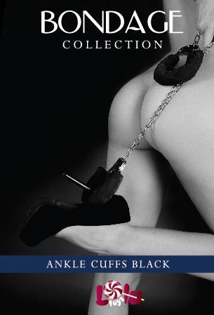 Чёрные меховые оковы на ноги из серии BONDAGE